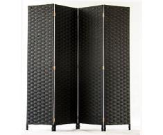 PEGANE Paravent de 4 pans tressé en Fibres synthètiques, Coloris Noir - Dim : H170 x L160cm