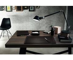 ASCANIO 6: Parure de bureau 6 pièces en cuir, couleur Brun Foncé, set de bureau complet, bureau secrétaire, base Antidèrapant, Made in Italy
