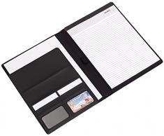 Portfolio DIN A4, document Conférencier utilisable comme Linen Décoration avec bloc-notes Gris 30,5 x 23,5 x 1,2 cm Format A4