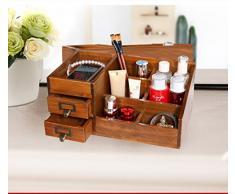 wysm Creative ordinateur de bureau multifonction soin de finition de la boîte de bureau complet du bois massif boîte de rangement en bois grand cosmétiques