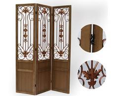 PEGANE Paravent Portes Anciennes en Bois et métal 3 pans, Coloris Brun H170 x L120cm
