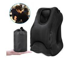 Oreiller voyage gonflable coussin de voyage ergonomique pour l'avion avec le corps complet et le support de tête Oreiller de bureau avec masque pour les yeux(nior)