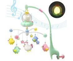 MAICOLA Bébé Musicale Berceau Mobile avec Night Lights et Lutrin Hanging Rotating hochets avec Music Box Toy pour Nouveau-né