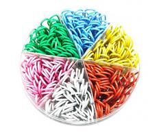 gespout Multicolore Lettre Pince Plastique Métal Trombones Trombone colorées pour la maison à lécole ou au bureau 50 mm 300 pièces, couleur aléatoire