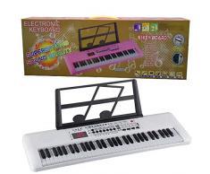 QqHAO Clavier électronique pour Enfants, 61-Key Piano électronique Multifonctions Instrument LED avec Lutrin et Microphone Rechargeable Enfants Piano,Blanc
