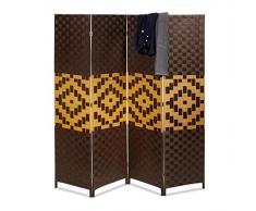 Relaxdays Paravent BYÖBU avec motifs graphiques HxlxP: 179 x 180 x 2 cm en 4 pièces cloison séparateur de pièce panneaux brise-vue en bambou pliable, marron foncé