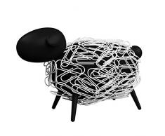 sheepi – Le Mouton Bureau Distributeur de trombones Magnétique – Noir avec Trombones blancs – La animale support pour trombones pour votre bureau