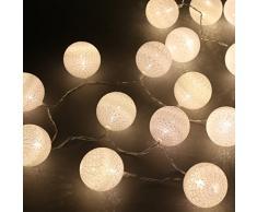 Guirlande lumineuse LED, DOTBUY Intérieur Pile Lumiere Décoration Chambre Enfant Boules Coton Batterie Chaîne Pour Maison Valentin Noël Fêtes Mariage (1.8m / 10 Boule lumière, White)