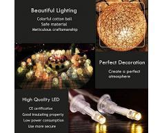 Guirlande Lumineuse Noël Coton Boule Arbre de Noel Halloween Ficelle Lumière LED