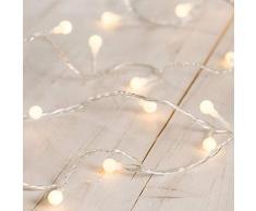 Lights4fun Guirlande Lumineuse Boule à LED Blanc Chaud sur Câble Transparent
