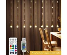 LEDGLE Rideau Lumineux 80 LEDs avec Crochet Guirlande Lumineuse LED Boule de cristal pour Extérieure avec Minuterie et Télécommande,10 Modes IP67 USB Alimenté (RGB)