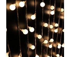 Guirlande Lumineuse, Lumiere Solaire Exterieur 50 Boule LED, 7m Fil Souple Imperméable IP65, 8 Modes Eclairage Décoration pour Maison, Jardin, Festival (Boule blanche laiteuse, Blanc froid)