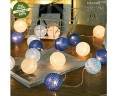 Morbuy Guirlande Lumineuse Boule, Cosy Boules Coton 20 LED Batterie Éclairage 6cm Balle Ficelle Lumière Décoration pour La Saint Valentin Noël Mariage Fêtes (3.3m / 20 Boule lumière, Ciel Bleu)
