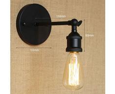 Loft Lampe de Mur Forme Parapluie Lampe Murales Rustique E27 Applique Industriel Décoration Couloir Restaurant (Noir)