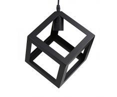 Lumière de plafond industrielle vintage, teinte métallique en forme de cube, lampe rétro suspendue Luminaire pour café, bar ou cuisine, noir (ampoules E27 non incluses)