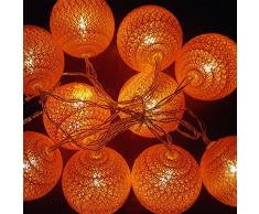 Guirlande Lumineuse LED, Morbuy Lumineuse Boule Cosy Coton LED Batterie Éclairage Matériau En PVC 6cm Balle Ficelle Lumière Couleur Décoration Pour La Saint Valentin Noël Fêtes Mariage d'autres F (Orange, 1.8m / 10 Boule lumière)
