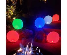 Boule de lumière LED Gonflable,14 Veilleuses RGB Couleur Changeante,Dimmable Orbs Lumière dambiance Sphere Lampe de Table,IP68 étanche Lumières Flottantes de piscine,Lumière Brillante pour maison