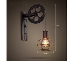mur industrielle lumières lampe de levage de poulie rétro Creative allée lampe murale couloir
