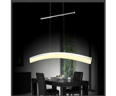 Eurohandisplay suspension lED 20 w sD 8361-01A lampe suspension à hauteur réglable chromé, abat-jour en acrylique-longueur : 100 cm de large 7,5 cm, hauteur 150 cm blanc chaud 3000 k 1200 lm
