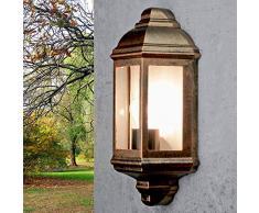 Applique rustique dextérieurLivorno optique cuivre aluminium IP44 E27 nostalgique lampe de bateau - LED inox approprié