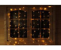 Guirlande Rideau lumineux 1,3 m x 1,3 m avec 80 LED blanc chaud - Rideau de lumière pour fenêtre parfait pour Noël de Gartenpirat®