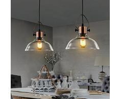 NIUYAO Lampe Suspension Lustre Abat-jour en Clair Verre Industrielle Pendant Lights Finition en Cuivre Antique Réglable