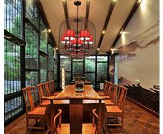 DDI Nouveau lustre ancien chinois Vintage Birdcage fer clubs hôteliers cage de salon de thé chambre restaurant lampe lustre Suspension réglable
