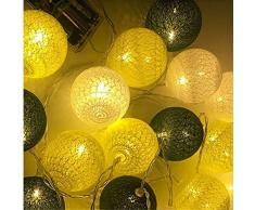 Guirlande Lumineuse Boule, Morbuy Lumineuse Cosy Boules Coton 20 LED Batterie Éclairage Matériau Durable En PVC 6cm balle Ficelle Lumière Couleur Décoration Pour La Saint Valentin Noël Fêtes Mariage d'autres Fêtes Ou Occasions