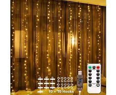 Fulighture Rideau Lumineux,Guirlande LED Rideau et Minuterie par Télécommande,Alimenté USB,8 Modes dEclairage Etanche IP67 pour Décoration Noël Mariage Anniversaire Terrasse Chambre