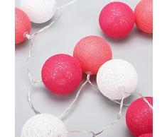 Morbuy Guirlande Lumineuse Boule, Lumineuse Cosy Boules Coton 20 LED Batterie Éclairage Matériau Durable en PVC 6cm balle Ficelle Lumière Couleur Décoration Pour La Saint Valentin Noël Fêtes Mariage d'autres Fêtes Ou Occasions