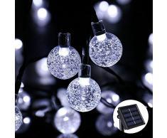 Qedertek Lumière Solaire 6M 30 LED Guirlande Lumineuse En Forme de Boule Cristal Avec 8 Modes d'éclairage Pour la Décoration Noël, Jardin, Mariage, Sapin de Noël, Extérieure (Blanc)