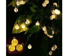 yimia® étanche 30 LED Guirlande Solaire, 8 portable lumineux 6 mètres extérieur guirlande lumineuse jardin solaire LED éclairage blanc chaud/multicolore Boule pour fête, Noël, jardin, extérieur, la bière Jardin, balcon,,