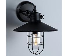 NIUYAO Lampe Applique Murale Abat-jour Métal avec Grilles Rétro Industrielle Eclairage Décorative-Noir