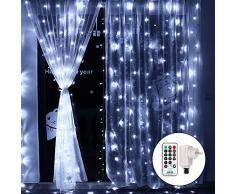 Qedertek Rideau Lumineux, 3M x 3M, 300 LED Guirlande Lumineuse électrique Blanc Froid 8 Modes Lumière de Rideau Idéal pour Décoration Noël Mariage Anniversaire Fête Vitrine Fenêtre
