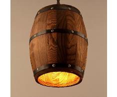 Lampe suspension rétro Suspension vintage Edison Loft Lustre E27 Hauteur réglable plafonnier industrielle en bois tonne Art Lampe suspension pour salon salle à manger Restaurant Cave Cafe Bar (sans ampoule)