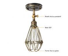 KINGSO E27 Lampe Suspension Abat-jour Cage en fer Plafonnier Applique Murale avec Douille Lustre Vintage Retro Industrielle Patine Bronzé