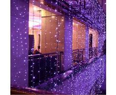 SOLMORE 10x3M Rideau Lumineux 1000 LED 8 Modes Guirlande Lumineuse Déco Mariage Soirée Anniversaire Noël Fête Vitrine Fenêtre Cour Balcon Maison Boutique Restaurant Hôtel Bar Intérieur Extérieur 220V Violet