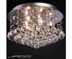 Jago - Lustre Plafonnier en Cristal 9 x G9 (max. 40 W) Diamètre 45 cm
