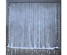 GEEDIAR®3Mx3M Rideau Lumineux 300 LED fenêtre rideaux Icicle Lumières cordes Fée de noce Lumière jardin Décorations (blanc)