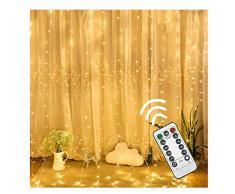 XLGX Guirlande Rideau Lumineux,Bright Guirlande Lumineuse LED 3M*3M, 8 Modes, 300 LED, dambiance à Lumière,Pour la Décoration Rideaux Fenêtre Terrasse Mariage Fenêtre (Blanc)