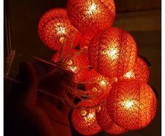 Guirlande Lumineuse LED, Morbuy Lumineuse Boule Cosy Coton LED Batterie Éclairage Matériau En PVC 6cm Balle Ficelle Lumière Couleur Décoration Pour La Saint Valentin Noël Fêtes Mariage d'autres F (Rouge, 1.8m / 10 Boule lumière)