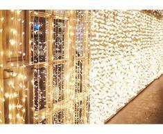 600 LEDs Rideaux Lumineux 6m*3m IDESION Guirlande 8 Modes de Fonctionnement Lumière de Rideau pour Décoration Intérieur Extérieur Chambre Mariage Noël Soirée Fête Halloween Saint-Valentin Blanc Chaud