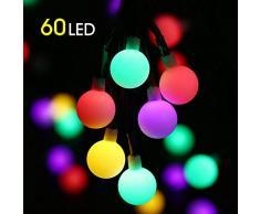 Guirlande Lumineuse Solaire, Mture 60 Boule LED 10M Fil Souple, 8 Modes Eclairage, Étanche IP45, Lampes Cordes Solaire pour la Décoration Intérieur et Extérieur, Jardin, Sapin Noël, Soirée Fête etc