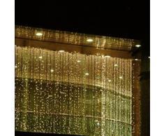 Viktion - 800 LEDs Guirlande Rideau lumineux 8m * 3m de 8 modes differents - pour la decoration intérieur / extérieur comme hotel marriage cérémonie soirée fête etc. - IP44, pour utilisation intérieur seulement (Blanc chaud )