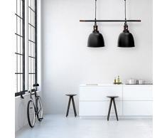 Relaxdays Lampe à suspension deux ampoules abat-jour Dimensions H x L x P 116 x 81 x 24 cm Luminaire hauteur réglable métal et bois décoration intérieure noir