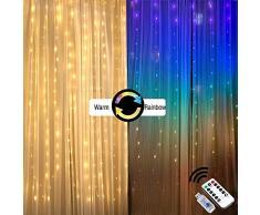 Guirlande Luineuse Exterieur Interieur Rideau Lumineux Led guirlandes lumineuses rideaux de lumière Decoration Chambre Murale Mariage Deco Anniversaire fête Bebe Fille Enfant Blanc Multicolore