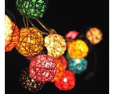 Couleur mélanger rotin boule Batterie Guirlande lumineuse multicolore