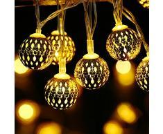 lederTEK Guirlande Lumineuse Solaire en forme de boule marocaine 3.5m de long 10pcs LED lumière décorative avec 2 modes d'éclairage pour extérieure, jardin, maison, mariage, terrasse (Blanc Chaud)