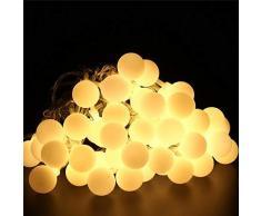ShinePick Guirlande Lumineuse 50 Boule LED, 9.5M Fil Souple Imperméable 8 Modes Eclairage Lampes pour Maison, Jardin, Festival Décoration Prise EU (Blanc Chaud)