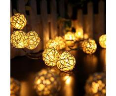 Ularma 20 LED couleur Chaîne de boule de rotin Guirlande lumineuse Pour Xmas Mariage Parti Chaud (beige)